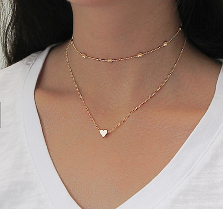 Double Chain Heart Gold Necklace