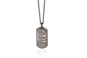 BELIEVE mini tag rhodiumplated silver pendant