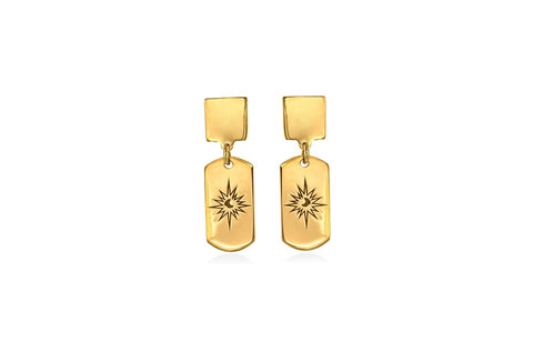 MOONLIGHT mini tag goldplated silver earrings