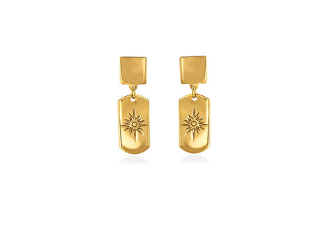 SUNSHINE mini tag goldplated silver earrings