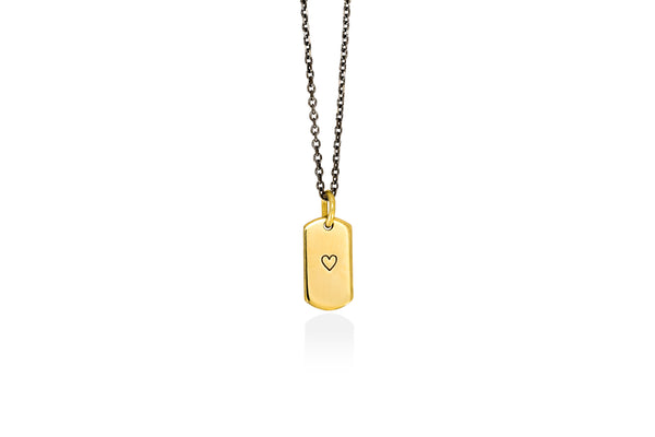 HEART tiny tag goldplated silver pendant