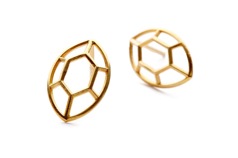 Navette | large goldplated silver earrings