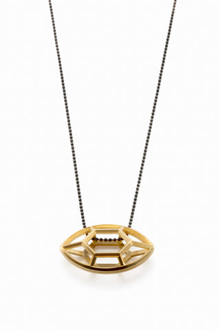 Navette | large goldplated silver pendant