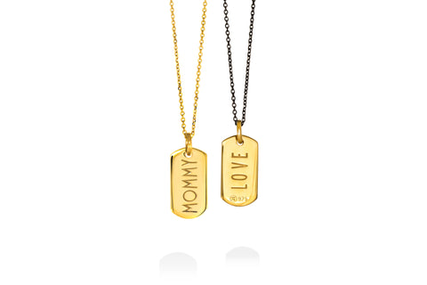 MOMMY/LOVE double face mini tag goldplated silver pendant