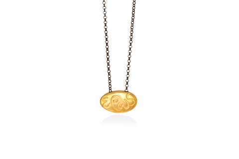 "έρως | eros goldplated silver ""pebble"" pendant"