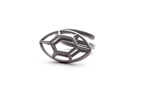 Navette | large rhodiumplated silver ring