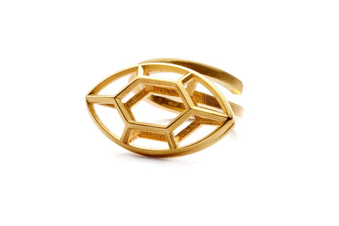 Navette | large goldplated silver ring