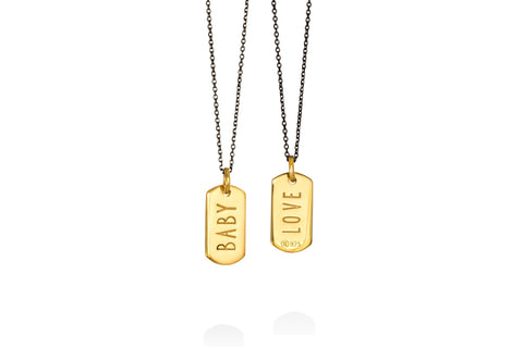 BABY/LOVE double face mini tag goldplated silver pendant