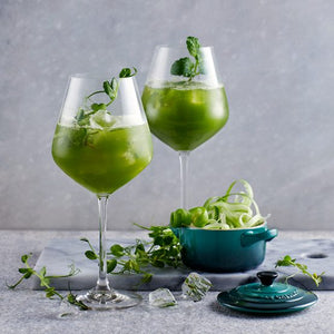 A muted celebration with green drinks