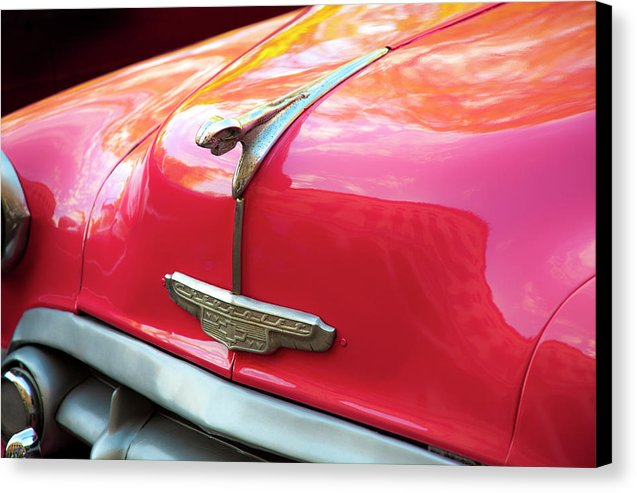 Vintage Chevy Hood Ornament Havana Cuba - Canvas Print