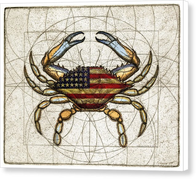 4th Of July Crab - Canvas Print
