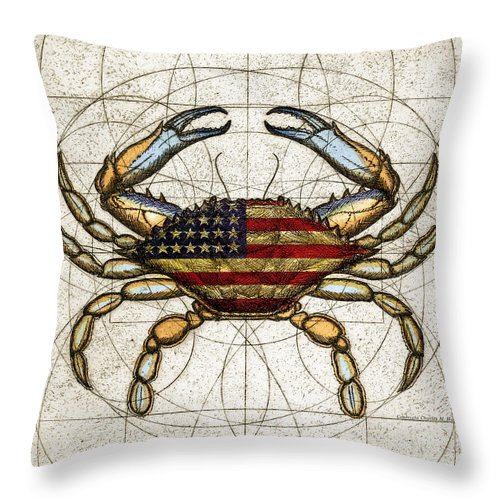 4th Of July Crab - Throw Pillow
