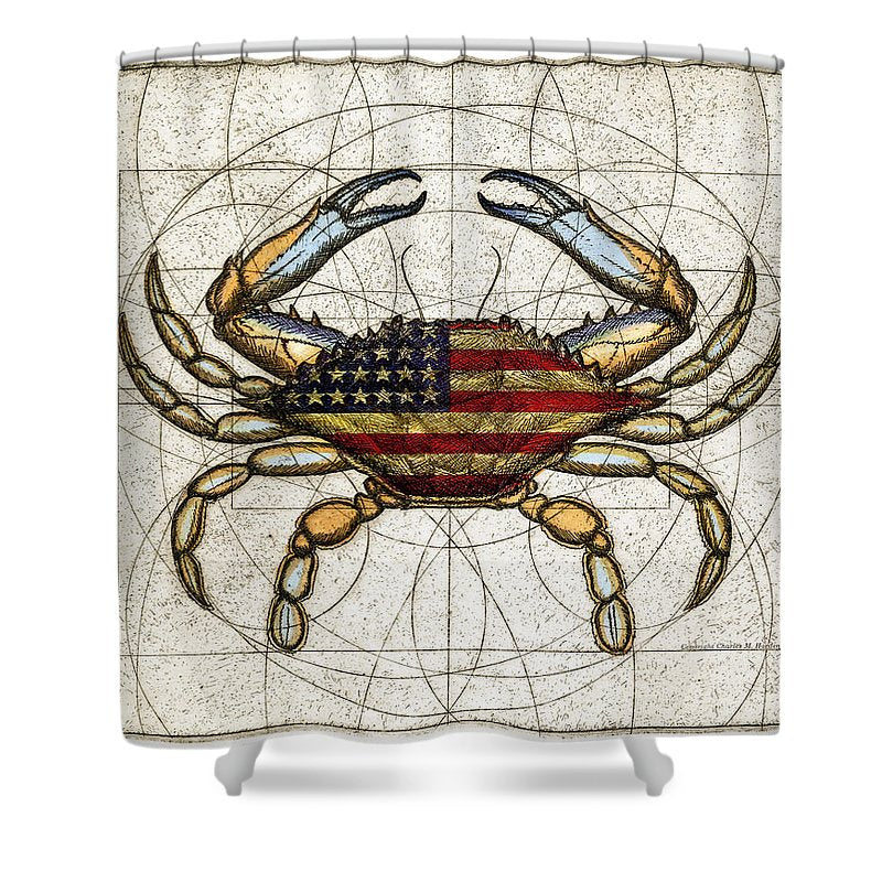 4th Of July Crab - Shower Curtain