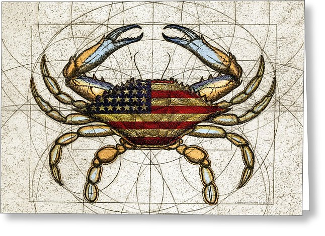 4th Of July Crab - Greeting Card
