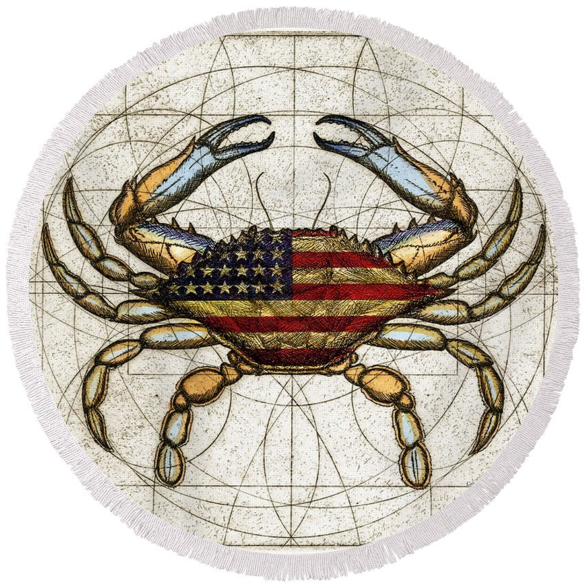 4th Of July Crab - Round Beach Towel