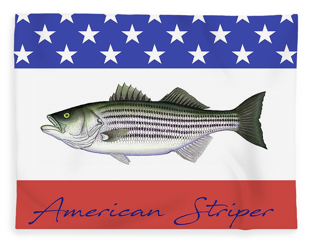 American Striper Striped Bass Fleece Blanket - Blanket