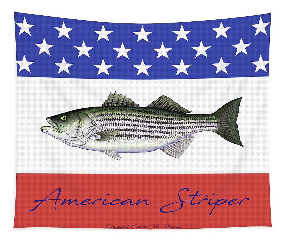 American Striper Striped Bass Fleece Blanket - Tapestry