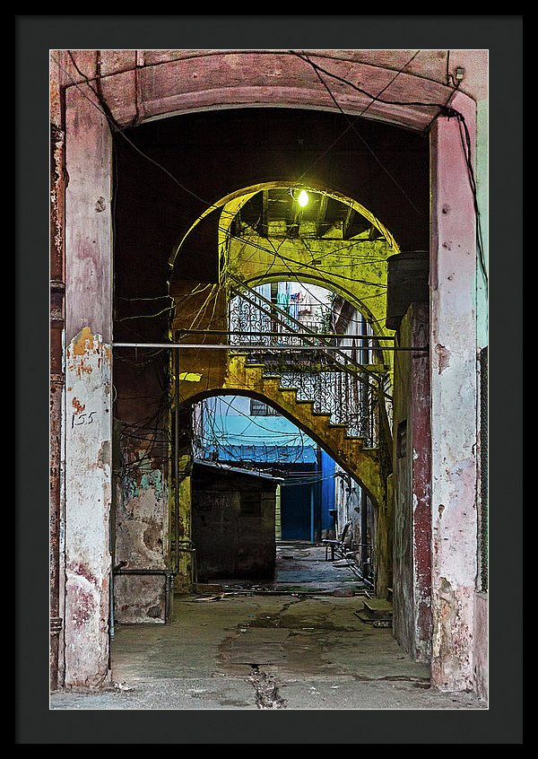 Apartment Entrance Havana Cuba Near Calle C - Framed Print