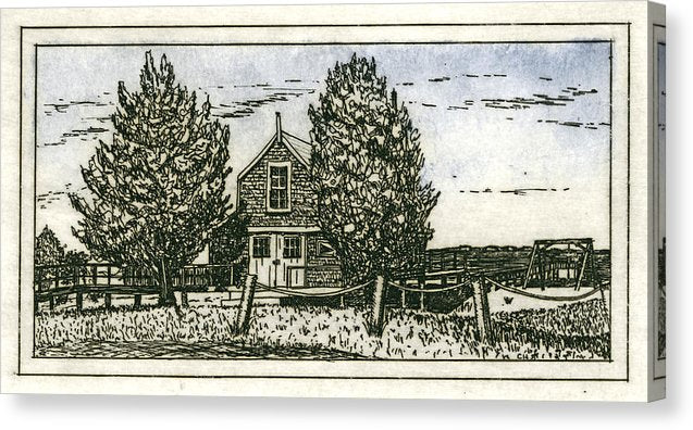 Barnstable Yacht Club Etching - Canvas Print