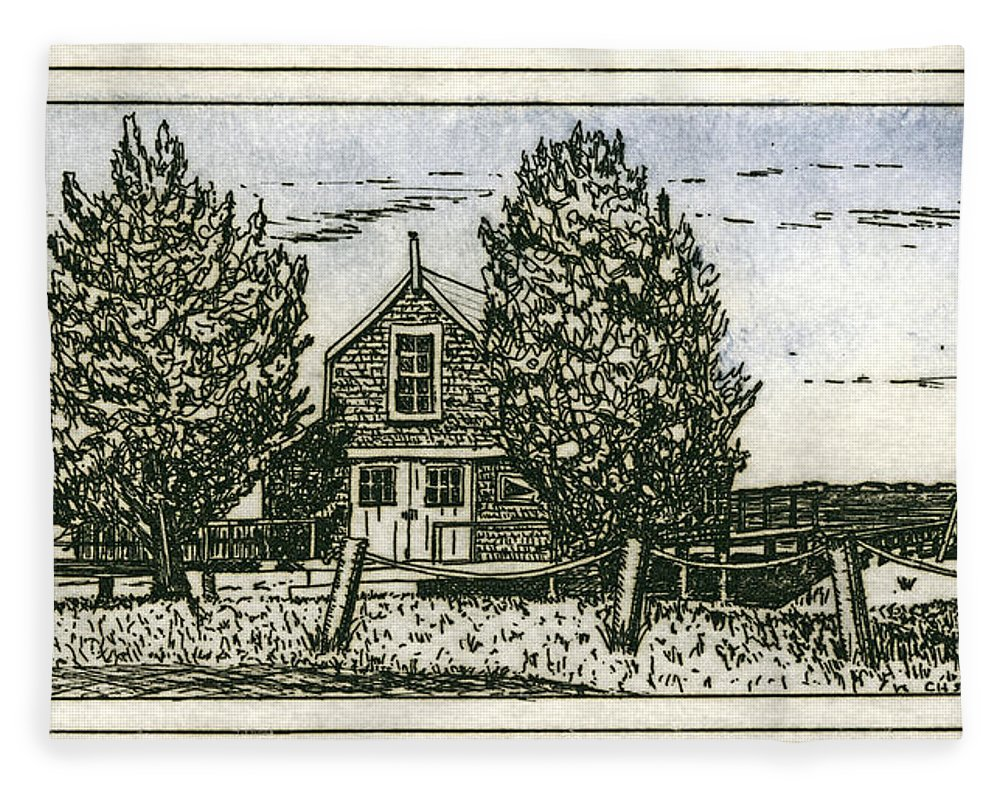 Barnstable Yacht Club Etching - Blanket