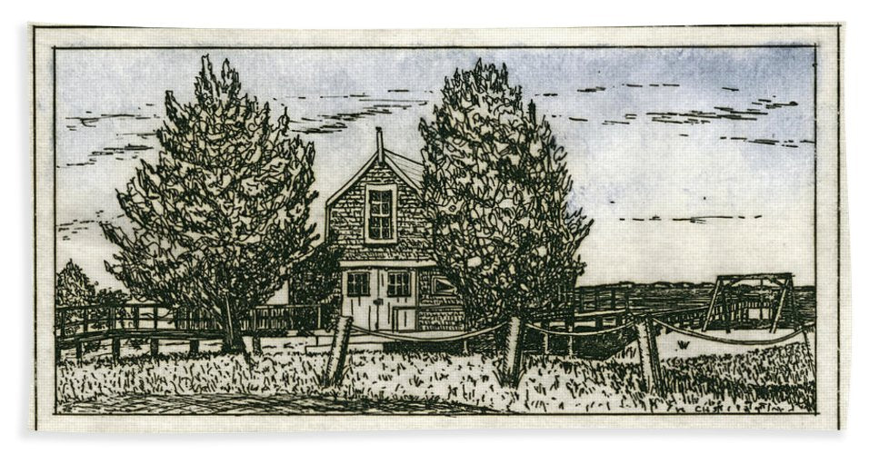 Barnstable Yacht Club Etching - Beach Towel
