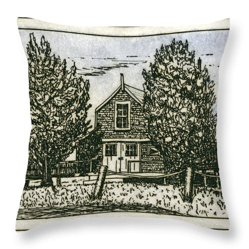Barnstable Yacht Club Etching - Throw Pillow