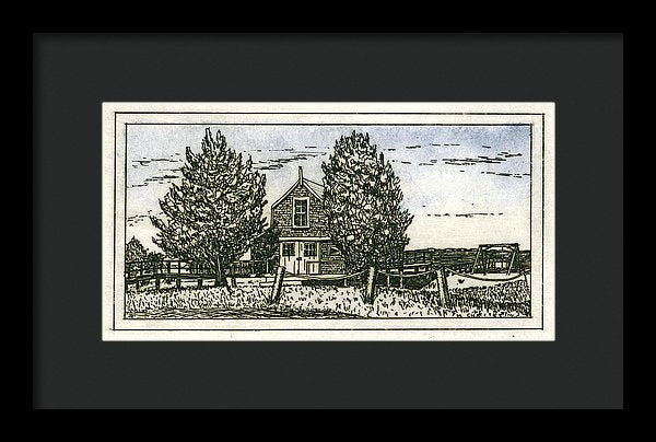 Barnstable Yacht Club Etching - Framed Print