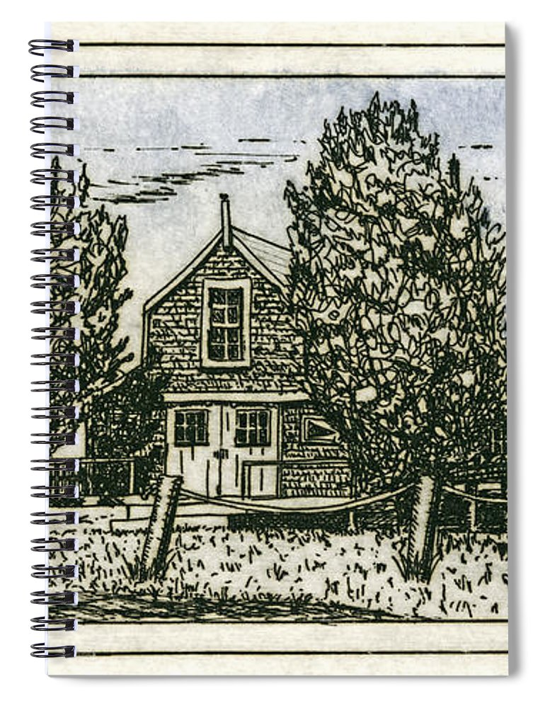 Barnstable Yacht Club Etching - Spiral Notebook