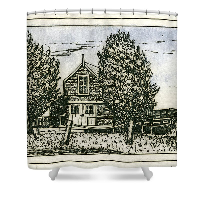 Barnstable Yacht Club Etching - Shower Curtain