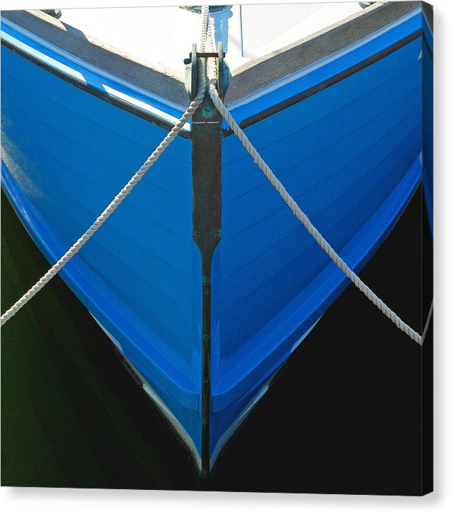 Vintage Old Blue Wooden Boat Bow - Canvas Print