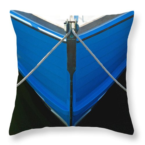 Vintage Old Blue Wooden Boat Bow - Throw Pillow