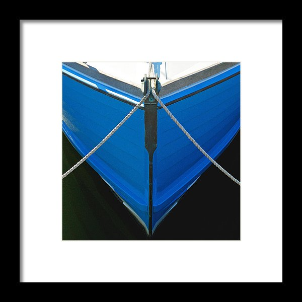 Vintage Old Blue Wooden Boat Bow - Framed Print