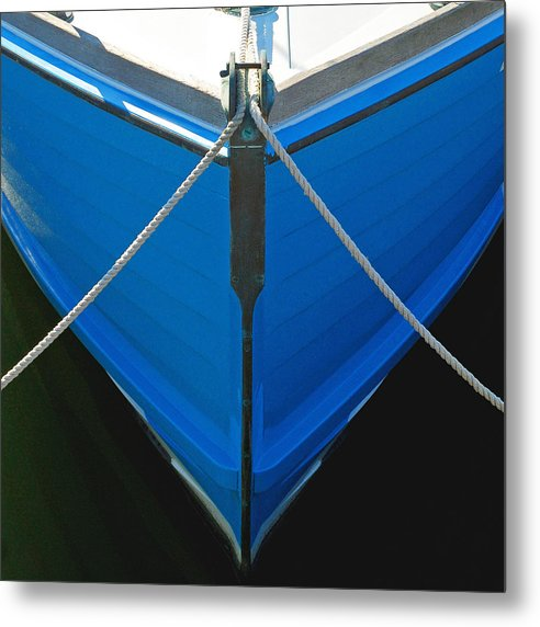 Vintage Old Blue Wooden Boat Bow - Metal Print
