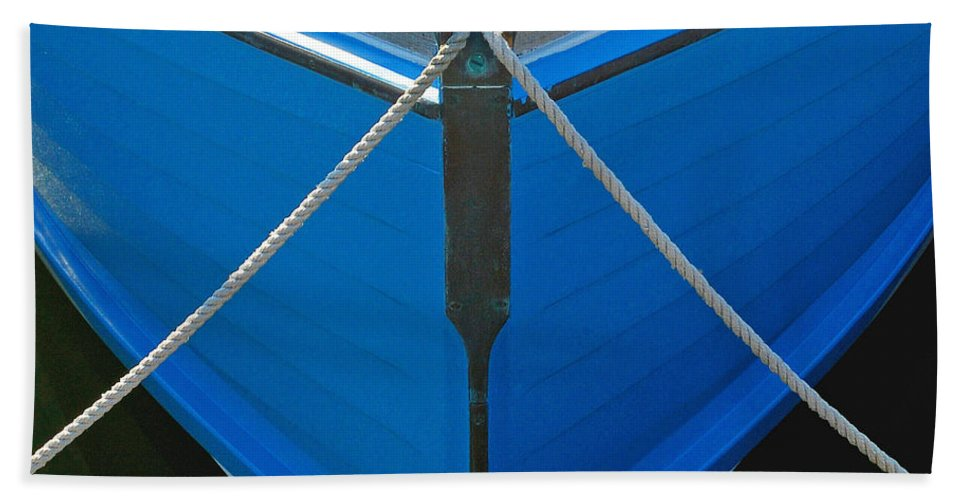 Vintage Old Blue Wooden Boat Bow - Beach Towel