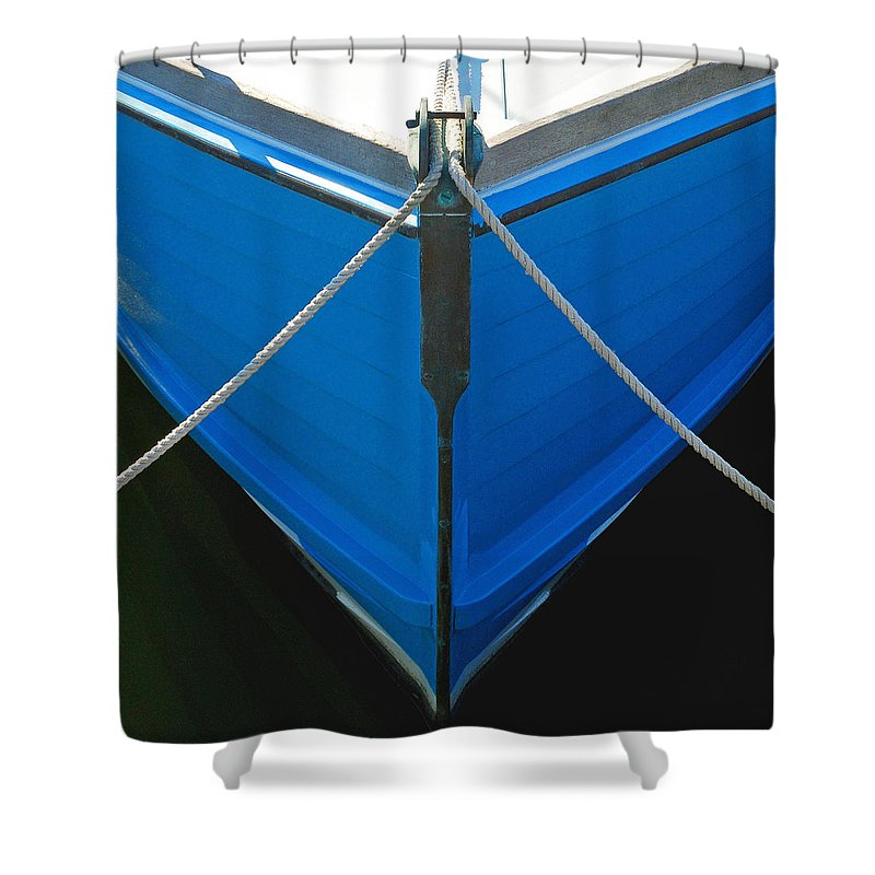 Vintage Old Blue Wooden Boat Bow - Shower Curtain