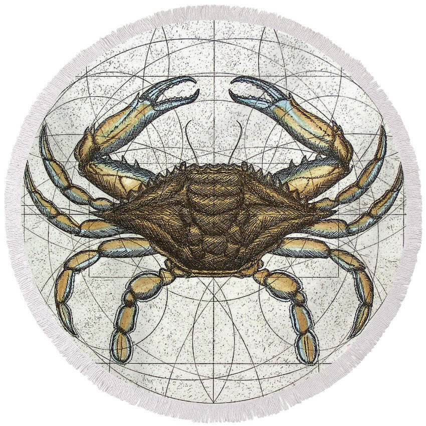 Blue Crab - Round Beach Towel