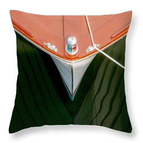 Vintage Boat Mirror Water Reflection - Throw Pillow