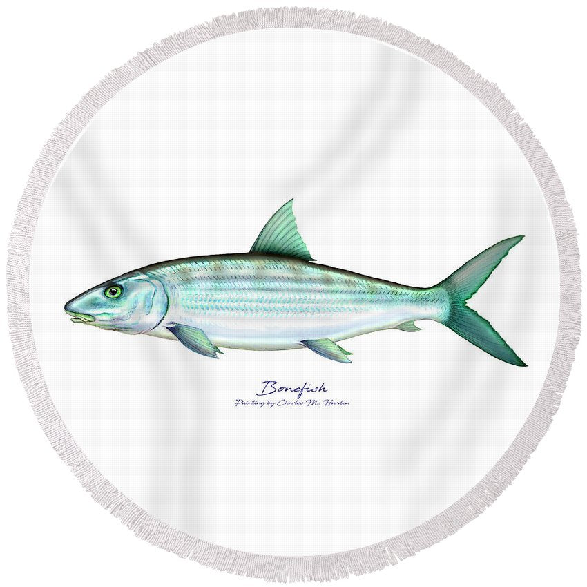 Bonefish - Round Beach Towel