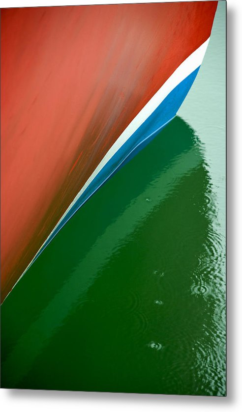 Boot Stripe On Boat - Metal Print