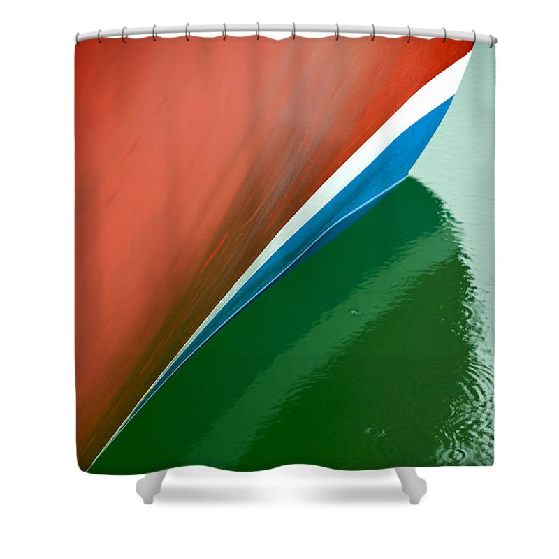 Boot Stripe On Boat - Shower Curtain