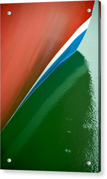 Boot Stripe On Boat - Acrylic Print