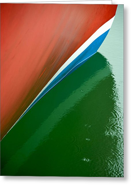 Boot Stripe On Boat - Greeting Card