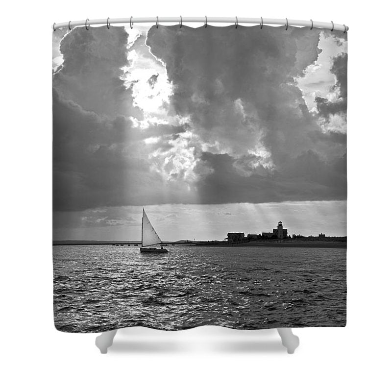 Catboat In Barnstable Harbor - Shower Curtain