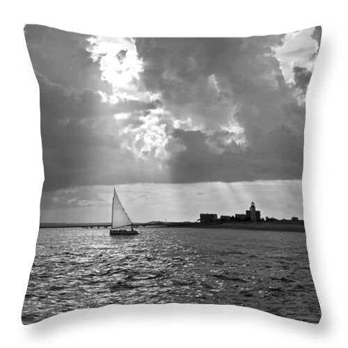 Catboat In Barnstable Harbor - Throw Pillow