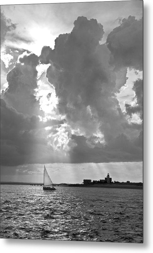 Catboat In Barnstable Harbor - Metal Print