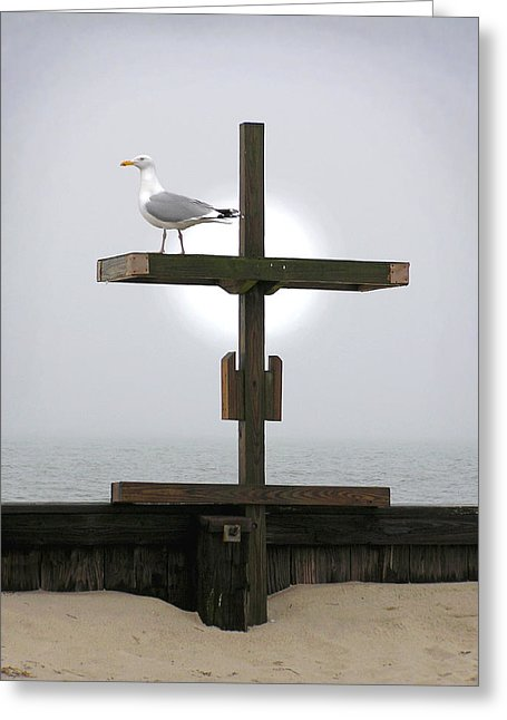 Cross At West Dennis Beach - Greeting Card