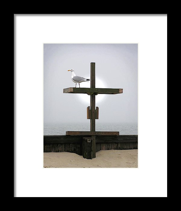 Cross At West Dennis Beach - Framed Print