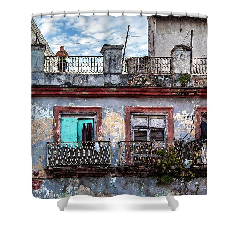 Cuban Woman At Calle Bernaza Havana Cuba - Shower Curtain