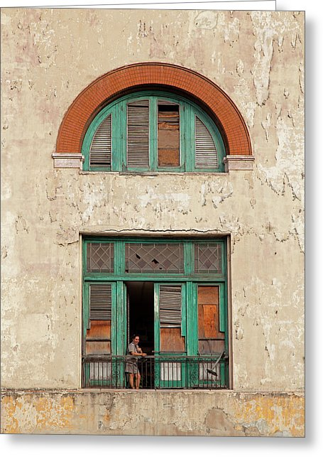 Cuban Woman On San Pedro Balcony Havana Cuba - Greeting Card
