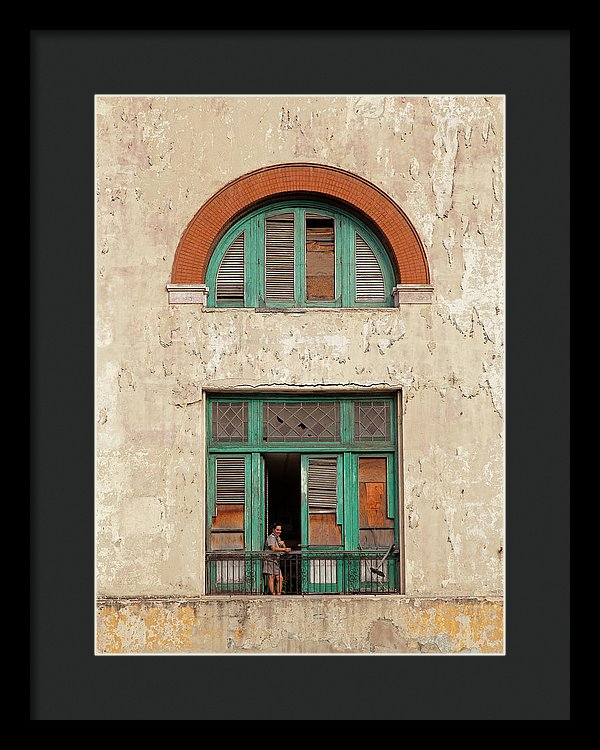 Cuban Woman On San Pedro Balcony Havana Cuba - Framed Print